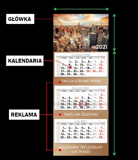 kalendarz trójdzielny cennik druk