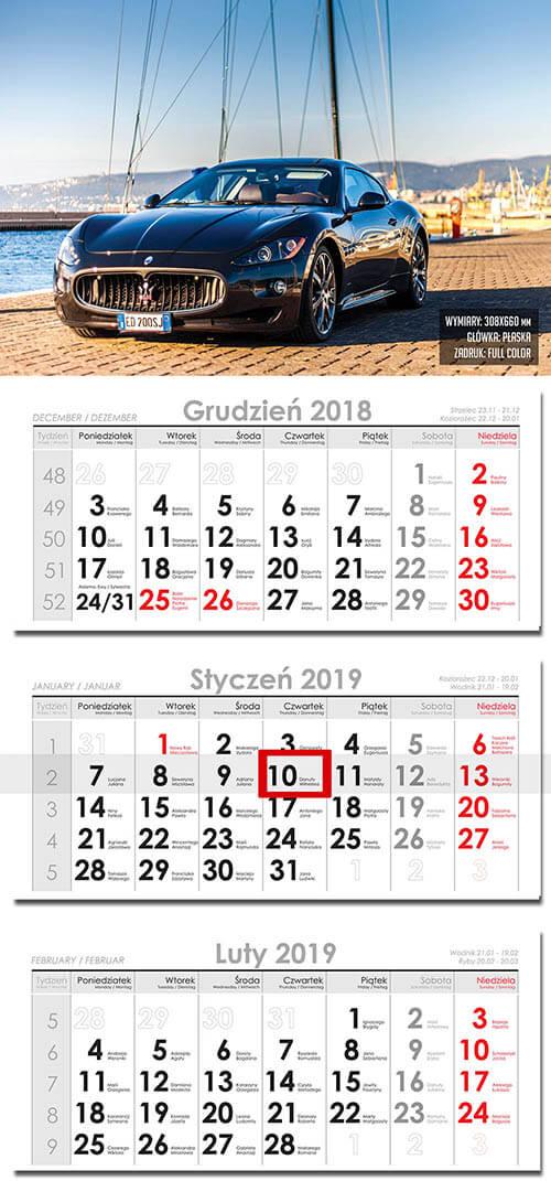 kalendarze trójdzielne druk
