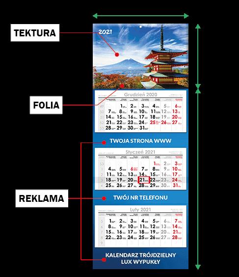 kalendarz trójdzielny zwypukłą główką cennik
