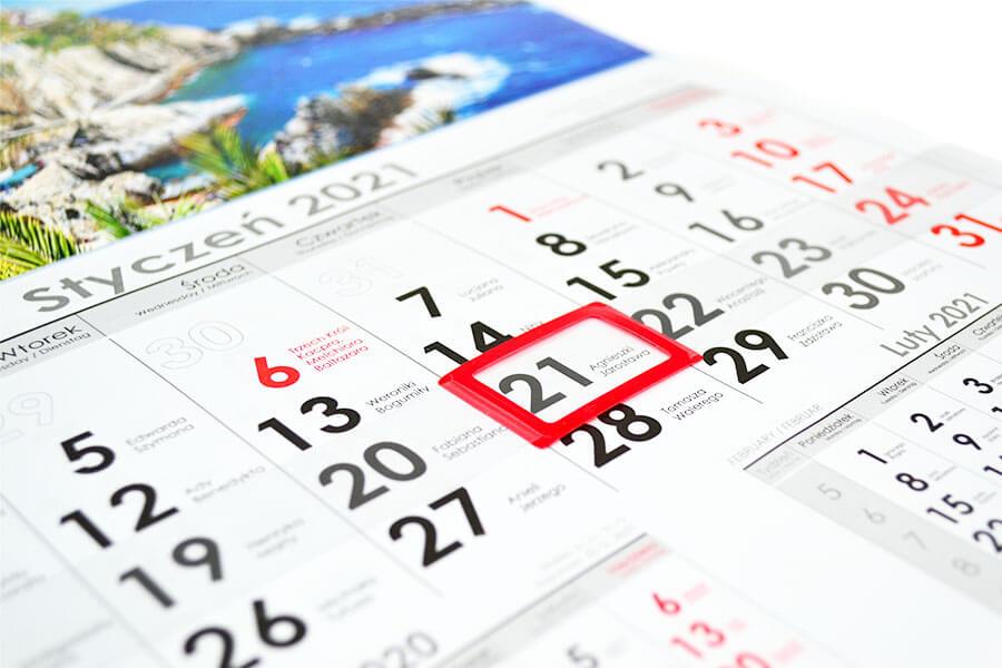 kalendarze znadrukiem jednodzielne